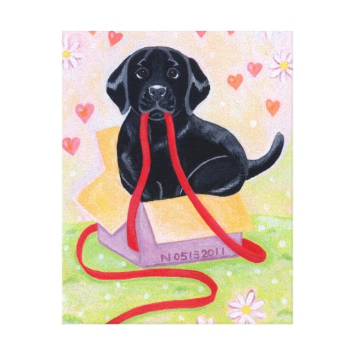 Black Labrador in the box Painting Canvas