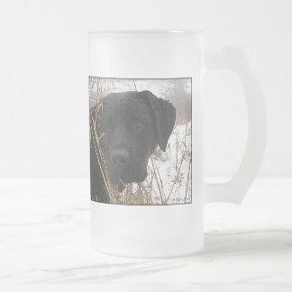 Black Labrador - Late Season Hunt Frosted Glass Beer Mug