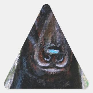 Black Labrador Love Smile Triangle Sticker