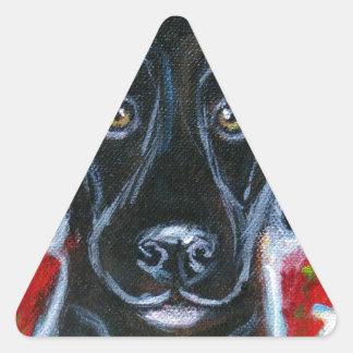 Black Labrador love Triangle Sticker