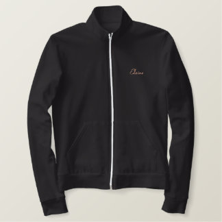 Black Labrador Mom Text Design Embroidered Jacket