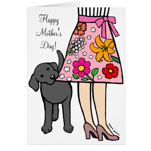 Black Labrador & Mom's Skirt Cartoon Card