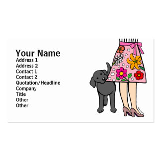 Black Labrador & Mom's Skirt Cartoon Double-Sided Standard Business Cards (Pack Of 100)
