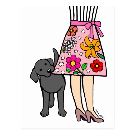 Black Labrador & Mom's Skirt Cartoon Postcard