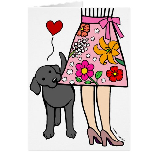 Black Labrador & Mom's Skirt Mother's Day Card