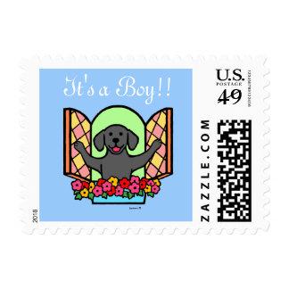 Black Labrador New Born Baby Postage Stamp