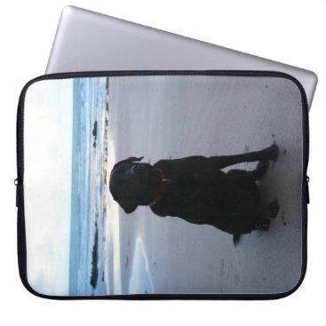 Beach Themed Black Labrador on a beach Computer Sleeve