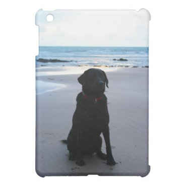 Beach Themed Black Labrador on a beach iPad Mini Cover