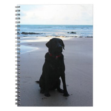Beach Themed Black Labrador on a beach Notebook