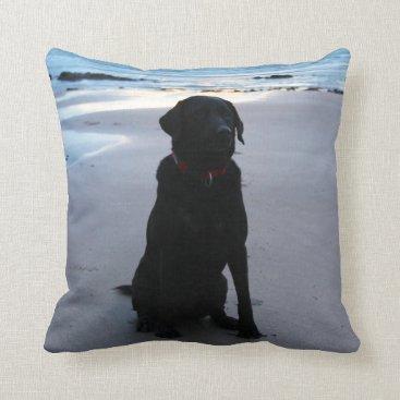 Beach Themed Black Labrador on a beach Throw Pillow