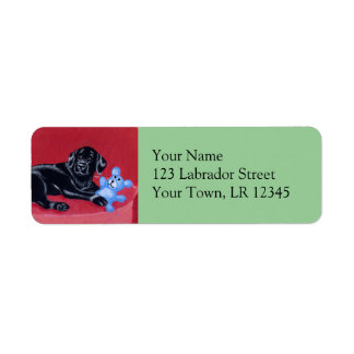 Black Labrador on the green couch Label