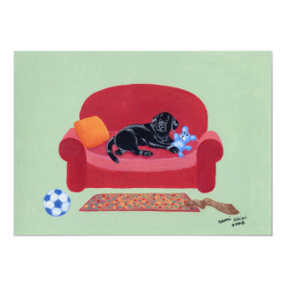 Black Labrador on the pink couch Card