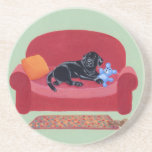 Black Labrador on the pink couch Drink Coasters