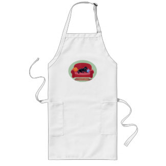 Black Labrador on the pink couch Long Apron