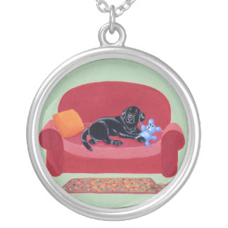 Black Labrador on the Pink Couch Pendant