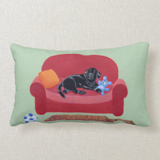 Black Labrador on the pink couch Painting Lumbar Pillow