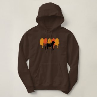 Black Labrador Outline Autumn Trees Hoodie