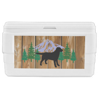 Black Labrador Outline Evergreen Trees Chest Cooler