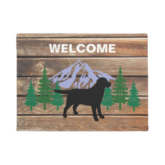 Black Labrador Outline Evergreen Trees Doormat