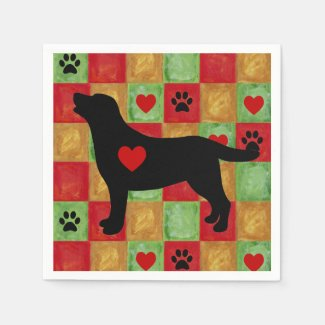 Black Labrador Outline Mosaic and Hearts Paper Napkins