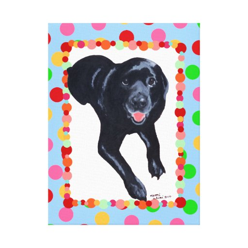 Black Labrador Painting Polka Dot Framed Canvas Print