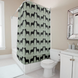 Amazing Black Labrador Pattern On A Green Background Shower Curtain