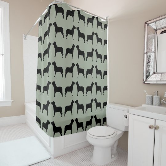 Black Labrador Pattern On A Green Background Shower Curtain