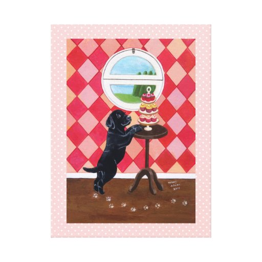 Black Labrador Puppy and Cupcakes Artwork Pink Canvas Print