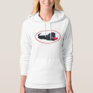 Black Labrador Puppy and Heart Hoodie