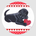 Black Labrador Puppy and Heart Stickers