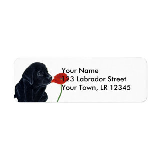 Black Labrador Puppy and Poppy Label