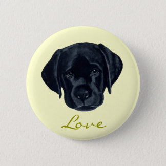Black Labrador Puppy Button
