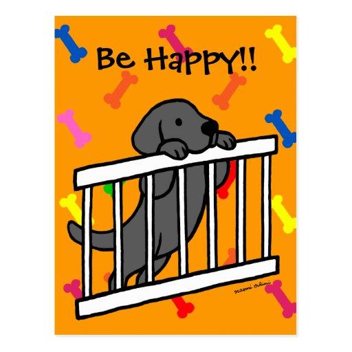 Black Labrador Puppy Cartoon Postcard