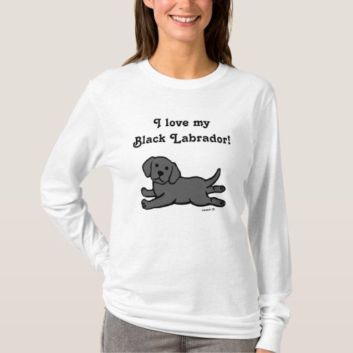 Black Labrador Puppy Cartoon T-Shirt