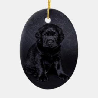 Black Labrador puppy Ceramic Ornament