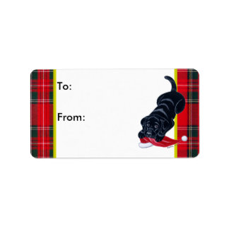 Black Labrador Puppy Christmas Gift Label