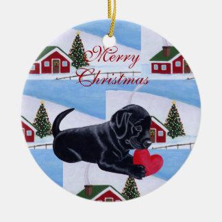 Black Labrador Puppy Christmas Painting Christmas Tree Ornaments