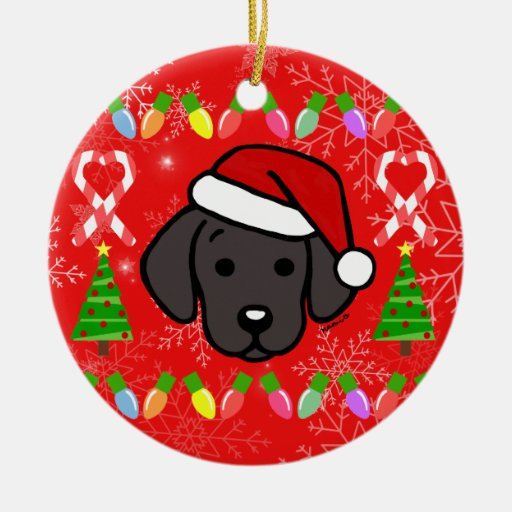Black Labrador Puppy Christmas Pattern Ceramic Ornament