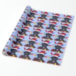 Black Labrador Puppy Christmas Santa Gift Wrapping Paper