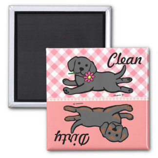 Black Labrador Puppy Clean / Dirty 2 Inch Square Magnet