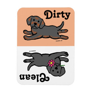Black Labrador Puppy Clean / Dirty Rectangular Photo Magnet