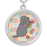 Black Labrador Puppy Flower Basket Round Pendant Necklace