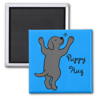 Black Labrador Puppy Hug 2 Inch Square Magnet
