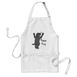Black Labrador Puppy Hug Adult Apron