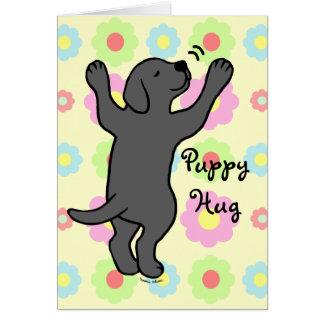 Black Labrador Puppy Hug Cartoon Floral Greeting Card
