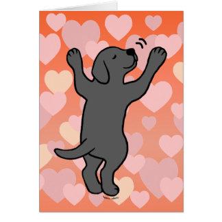 Black Labrador Puppy Hug Cartoon Hearts Card
