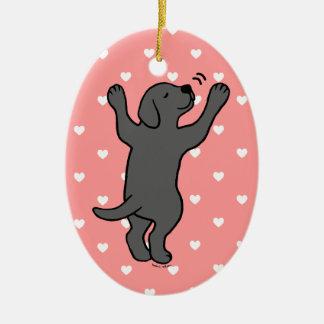 Black Labrador Puppy Hug Cartoon Christmas Ornament