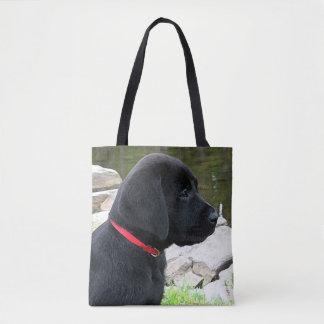 Black Labrador Puppy - Little Red Collar Tote Bag
