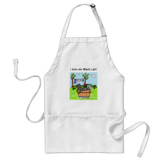 Black Labrador Puppy Pool Cartoon Adult Apron