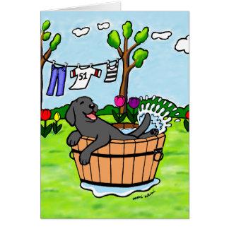 Black Labrador Puppy Pool Cartoon Card